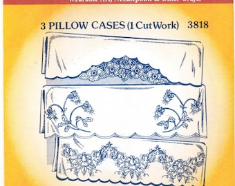 Pillowcases Designs Cutwork Retired #3818 Aunt Martha Hot Iron Embroidery Transfer pattern