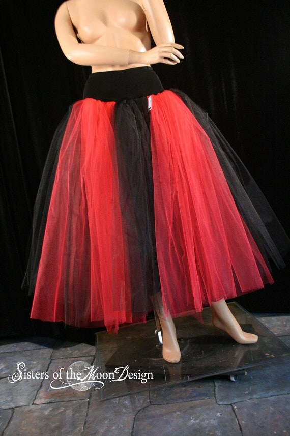 Red and Black Floor Length Tutu Skirts for Adults