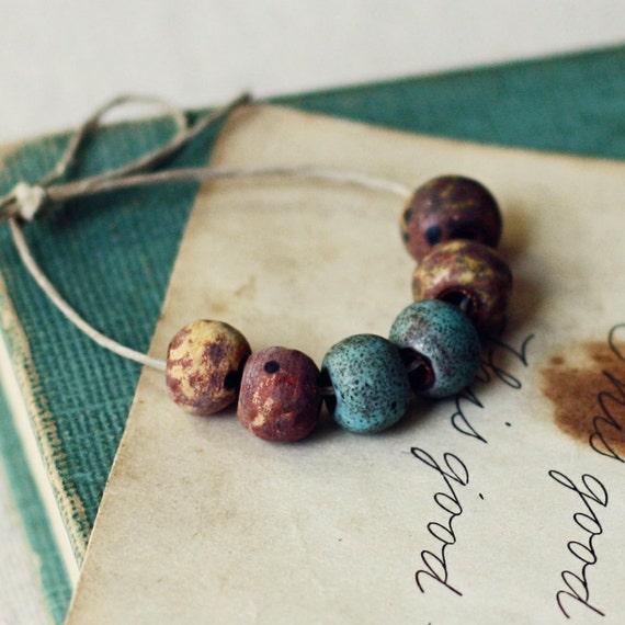 Tiny rustic rounds- handmade ceramic beads