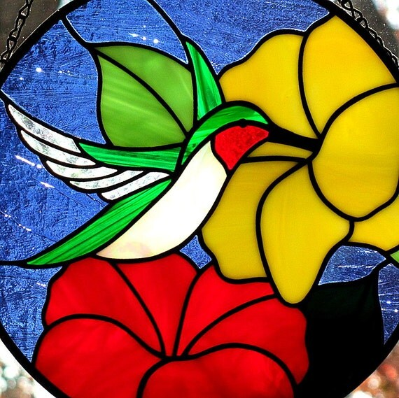 Stained Glass Hummingbird Suncatcher Red Yellow Flowers