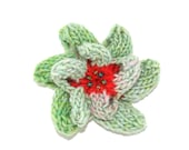OOAK Small Knitted Flower Brooch or Hair Clip in Lime and Flaming Tangerine