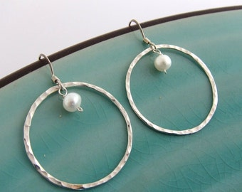 Sterling Silver Hammered Single Circle and White Pearl Earrings, Customized