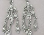 Bride-Bridesmaid-Rhinestone Chandelier EarringsVintage