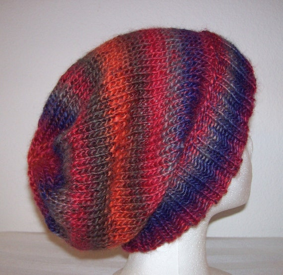 Wool/Acrylic Ski Hat - Slouchy Knit Beanie - Knitted Hipster Toque - Stained Glass