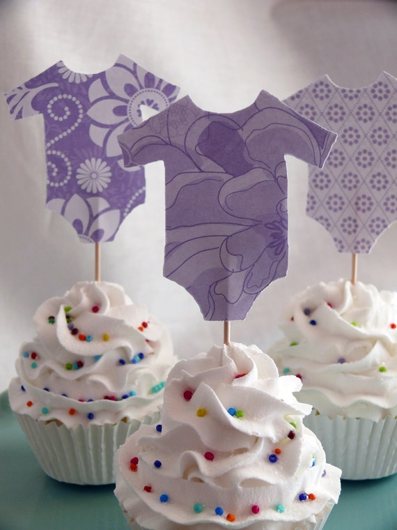 Onesie Cupcake Toppers, Party Picks, Food Picks Lovely Lavender