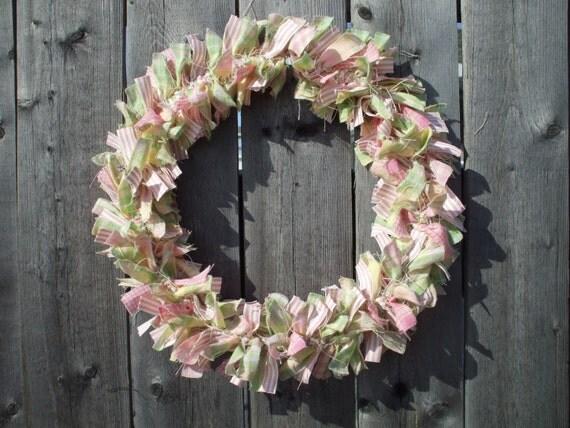 Spring Rag Wreath Homespun Quilt Fabric Handmade Pink Green Spring Wreath