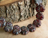 Red Czech Glass Maple Leaf Beads Cranberry Garnet Picasso10x13mm (10)