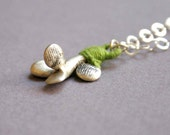 Sterling Silver Necklace with Grass Green Thread - Small Baoab Tree - One of a kind