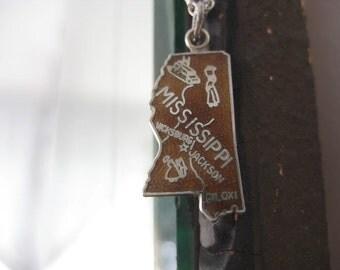 Vintage Mississippi State Travel Charm for Bracelet Pendant Necklace Sterling Silver Brown