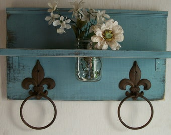 Shabby Robin Egg Blue Chic  Bathroom or  Kitchen Fleur de Lis Towel Rings Shelf with Maison Jar