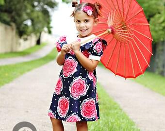 SALE!!!  1968 Retro Style Pink Flower Ruffle Dress children clothing