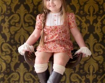 SALE!!!  1968 Style Retro  Orange Flower dress children clothing