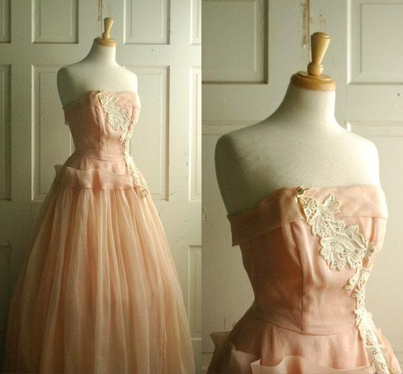 1950s Prom Dress / Vintage Pink Organza Dress