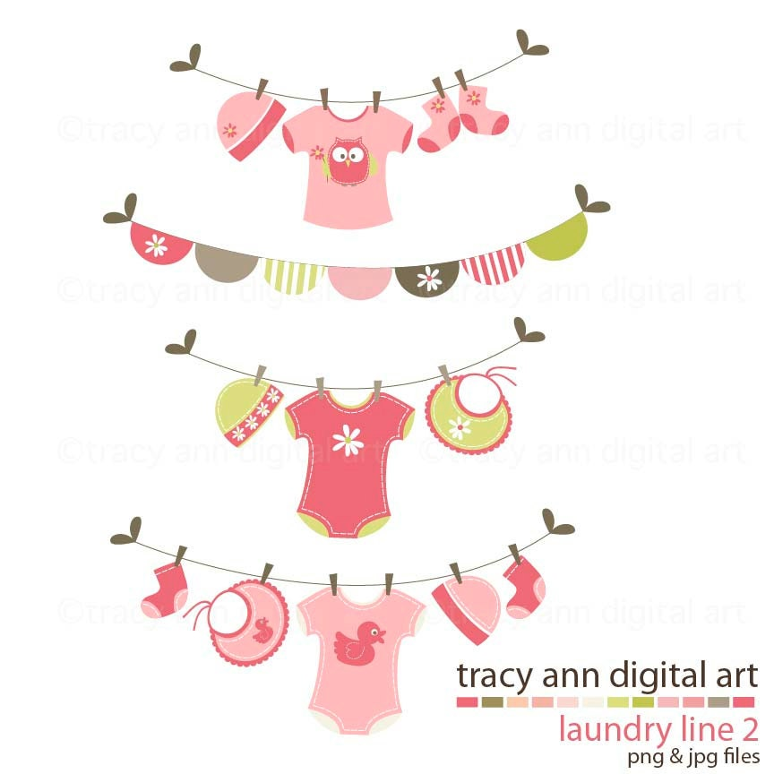 Pink Baby Shower Clipart Clip Art Laundry