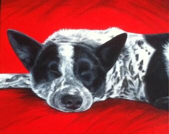 Custom Pet Portrait Acrylic Painting 12 by 12 Square Canvas