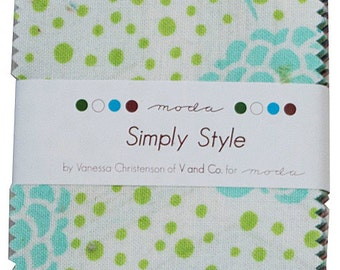 Moda SIMPLY STYLE Precut MINI Charm Pack Cotton Quilting Fabric Squares V and Co