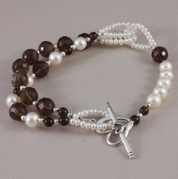 Bracelet Smoky Quartz and freshwater pearls Sterling heart clasp double strand