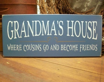 Grandma's House Wood Sign Grandmother Plaque Personalized Grandparent Mother's Day Gift