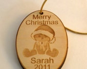 Personalized wooden christmas bear ornament or gift tag