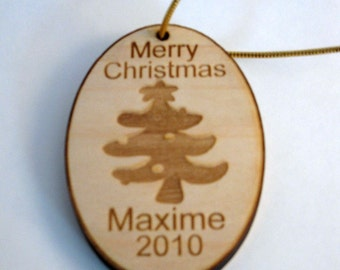 Personalized wooden christmas tree ornament tag
