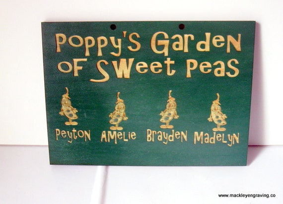 Grandpa's Sweet Peas personalized sign (Grandparent, mother, father etc....)