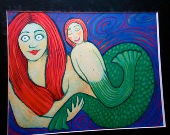 Fish Eyed Mermaid With Child