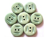 6 Buttons, vintage, plastic, unique green, 19mm