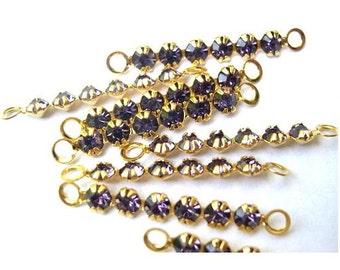 6 Vintage Swarovski crystal connector beads, 6 purple rhinestones in metal gold color setting- RARE