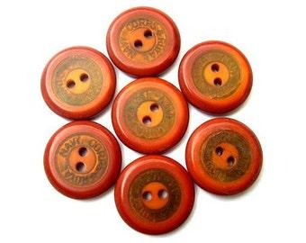 7 Antique vintage plastic cognac color buttons  20mm