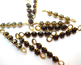 6 Vintage Swarovski crystal connector beads, 4 dark red rhinestones in brass setting- RARE