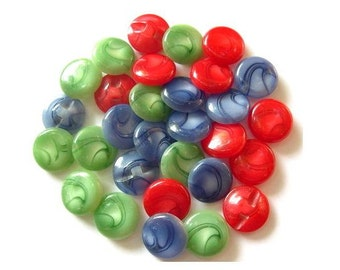 30 Vintage plastic buttons 3 colors 17mm, sweet buttons