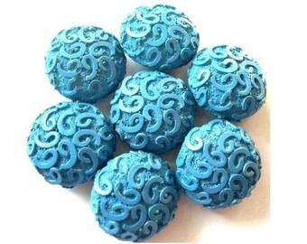 6 Antique vintage buttons etched design blue  plastic, thick, RARE