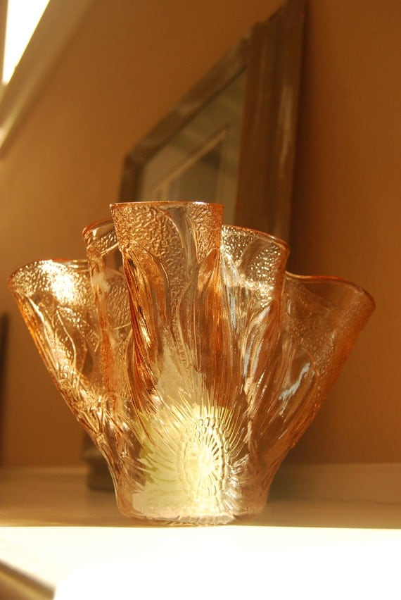 Glass Vase or Candle Holder made from peach colored glass