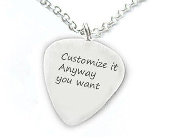 Customize Guitar Pick Necklace Personalized anyway you want Hand Stamped Pendant Music Gift Birthday sterling silver brass copper aluminum