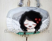 OOAK Aqua Silver Red Black Christmas Angel Mini Art Ornament Holiday Decor