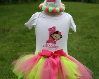Personalized Modern Monkey Twins Party Tutu Set - Siblings - Party Hat - Bib - Bodysuit or T-shirt - Decor - Theme - Cake Smash