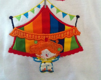 Embroidered Circus Tent or Carnival Bodysuit or T-shirt - Birthday - Balloons - Colorful - Gift - Theme - Party Decor - Name - Boy or Girl