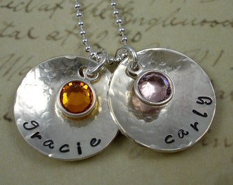 Hand Stamped Two Discs with Birthstones Necklace Custom by RoseCreekCottage Sterling