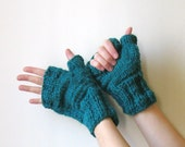 Fingerless Mittens Knitted in Teal Acrylic Wool Blend Yarn