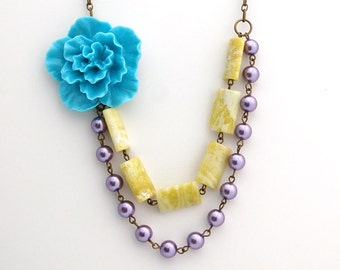 CLEARANCE Asymmetrical Blue Sakura Flower Necklace