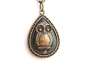 Owl Tear Drop Necklace