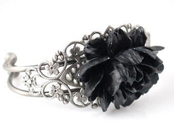CLEARANCE Black Rose Cuff Bracelet