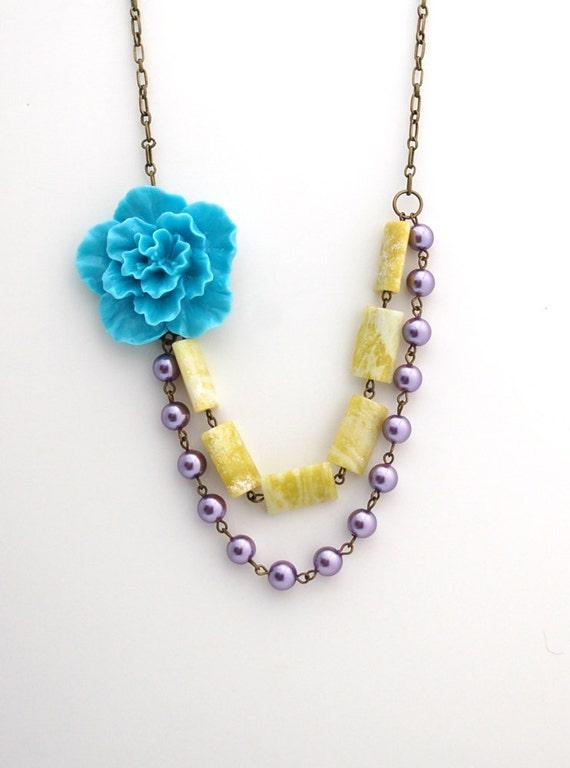 CLEARANCE Asymmetrical Blue Sakura Flower Necklace