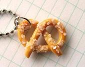 Salted Pretzel NECKLACE, Food Jewelry, Pretzel Jewelry, Miniature Food