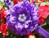Purple Peony Flower Clip or Adjustable FOE Headband YOUR CHOICE