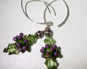 Lilac and Peridot Lampwork, Swarovski Crystals and Sterling Silver Earrings