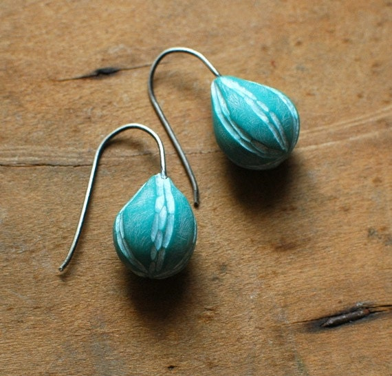 Buoy carved drop earrings in aqua