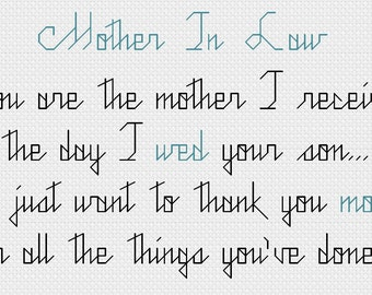 Cross stitch pattern - Mother In Law PDF - INSTANT DOWNLOAD