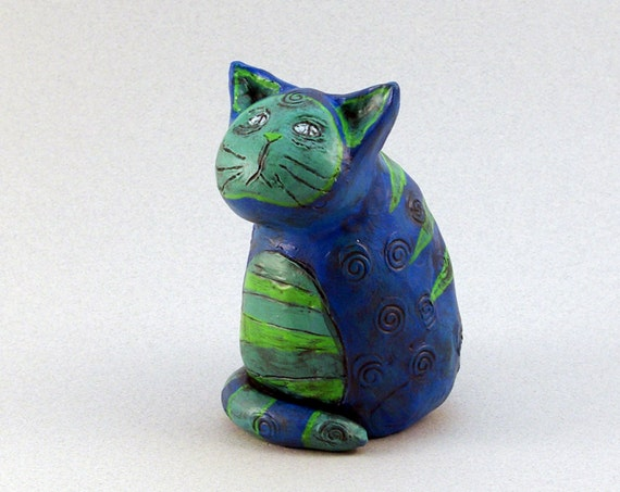Blue Cat Figurine Sculpture with Green Stripes