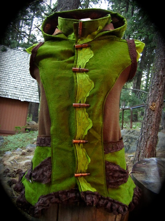 ON SALE Tribal Festival Green Vest Large to Extra Large